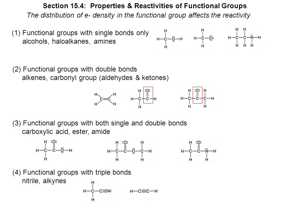 Section 15.4: Properties & Reactivities of Functional Groups The distribution of e- density in the functional group affects the reactivity (1)Functional groups with single bonds only alcohols, haloalkanes, amines (2) Functional groups with double bonds alkenes, carbonyl group (aldehydes & ketones) (3) Functional groups with both single and double bonds carboxylic acid, ester, amide (4) Functional groups with triple bonds nitrile, alkynes