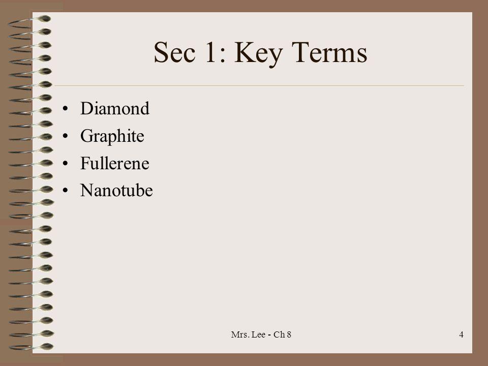 Mrs. Lee - Ch 84 Sec 1: Key Terms Diamond Graphite Fullerene Nanotube