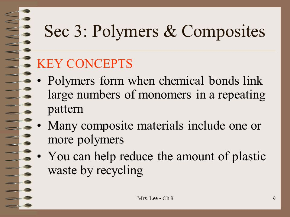 Mrs. Lee - Ch 89 Sec 3: Polymers & Composites KEY CONCEPTS Polymers form when chemical bonds link large numbers of monomers in a repeating pattern Man