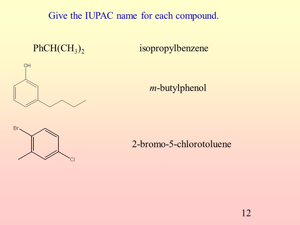 Check Point 31-1 Give the IUPAC name for each of the following compounds: (a) (b) (c) (d) 31.2 Nomenclature of the Derivatives of Benzene (SB p.150) A
