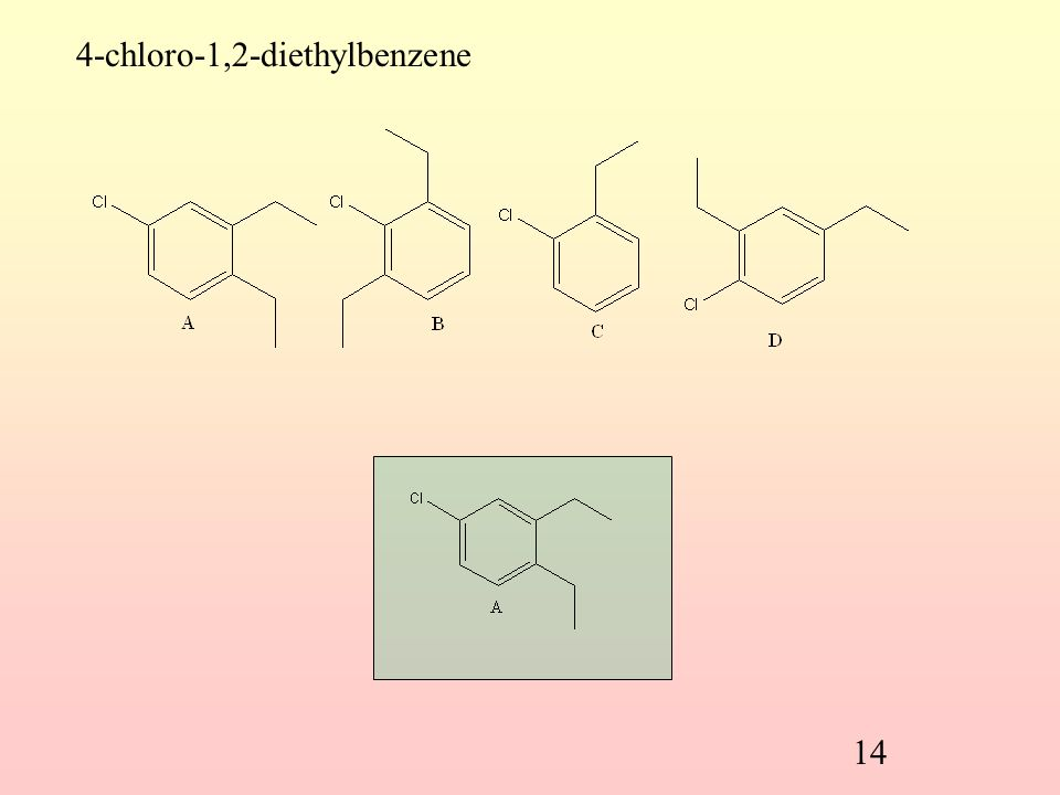 13 Which structure matches the given name? o-dichlorobenzene