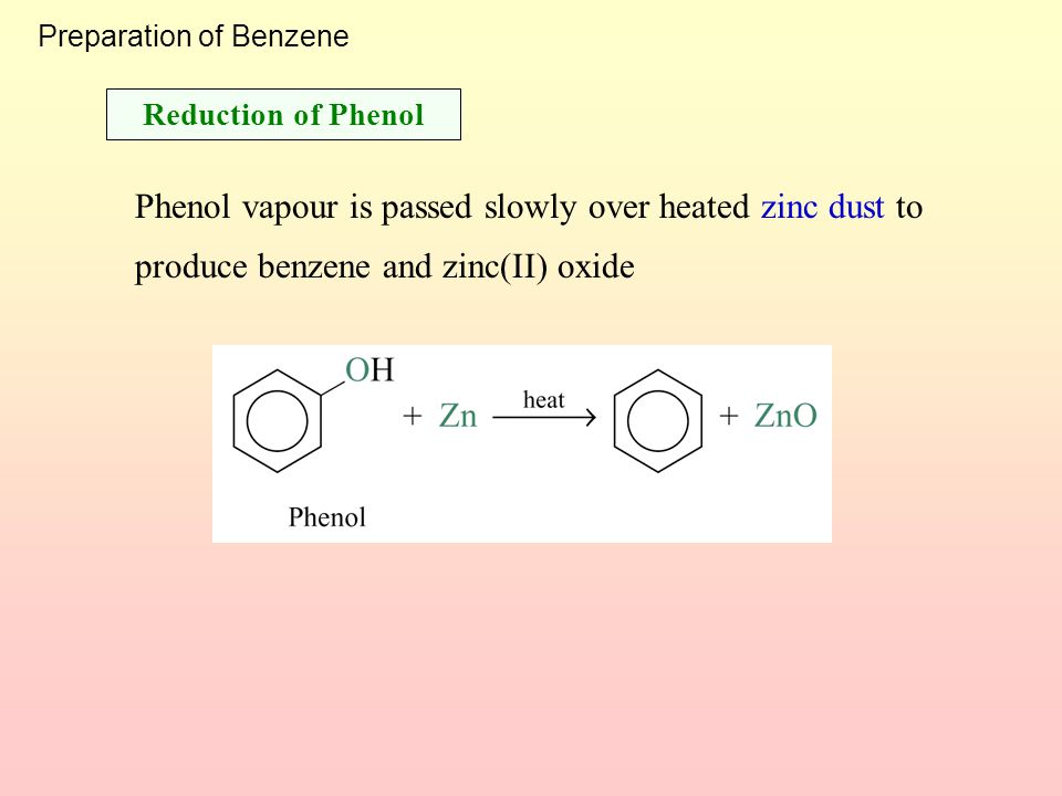 Preparation of Benzene When sodium benzoate is fused with sodium hydroxide, the carboxylate group is removed and benzene is formed Decarboxylation of