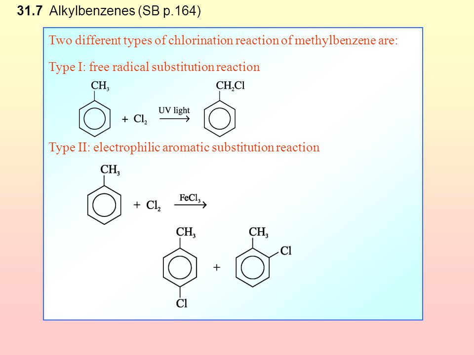 Check Point 31-3 Methylbenzene undergoes two different types of chlorination reaction by different mechanisms. Compare the two different types of chlo