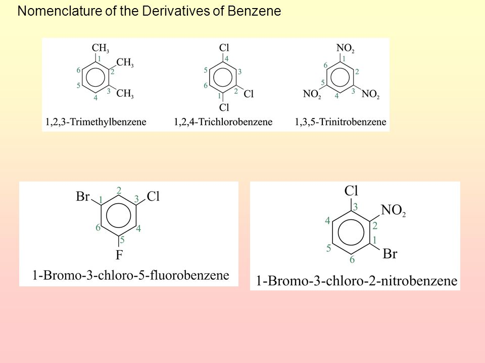 6 For three or more substituents on a benzene ring: 1.Number to give the lowest possible numbers around the ring. 2.Alphabetize the substituent names.