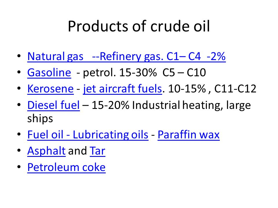 Products of crude oil Natural gas --Refinery gas. C1– C4 -2% Gasoline - petrol. 15-30% C5 – C10 Gasoline Kerosene - jet aircraft fuels. 10-15%, C11-C1