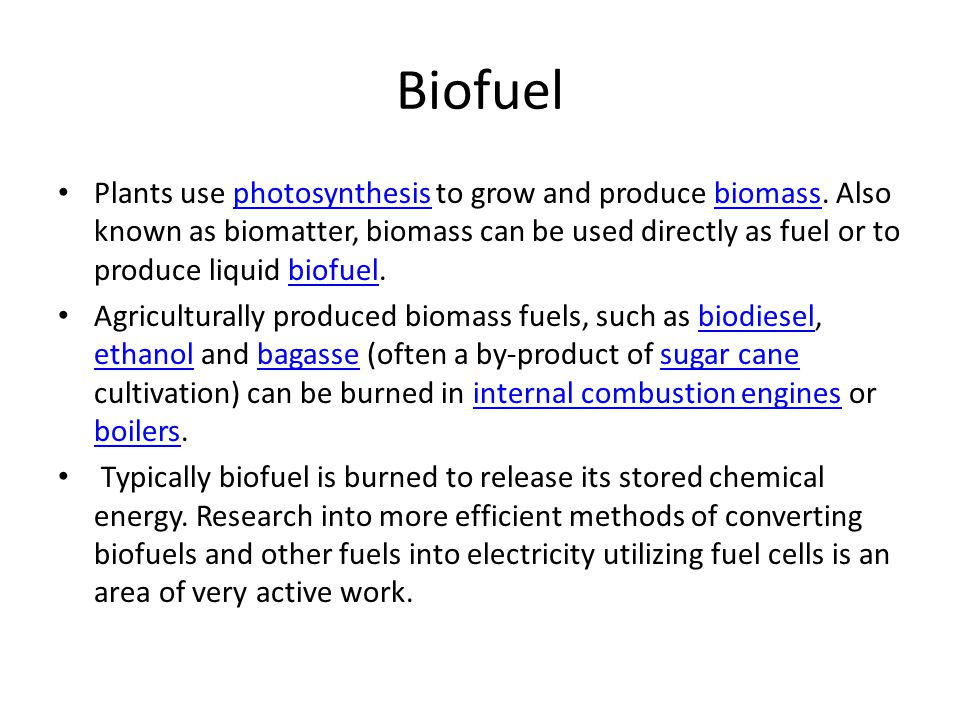 Biofuel Plants use photosynthesis to grow and produce biomass.