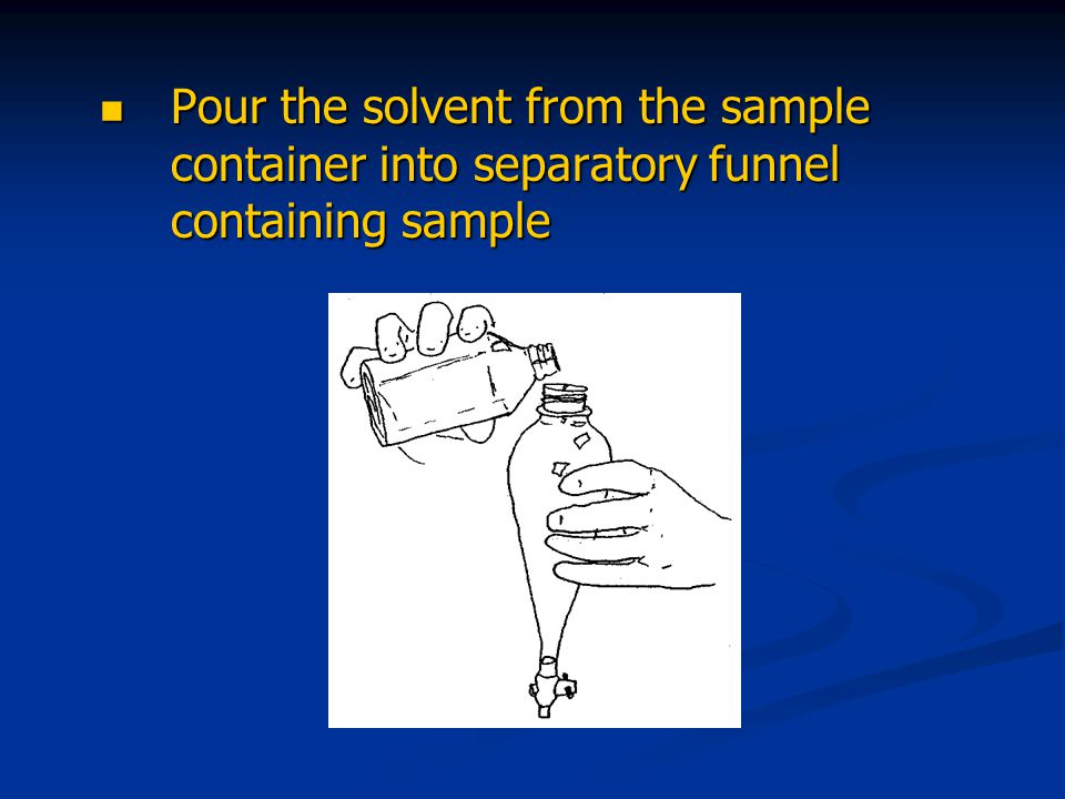 Pour the solvent from the sample container into separatory funnel containing sample Pour the solvent from the sample container into separatory funnel