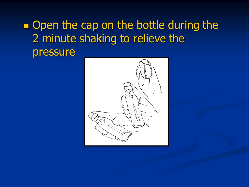 Open the cap on the bottle during the 2 minute shaking to relieve the pressure Open the cap on the bottle during the 2 minute shaking to relieve the pressure
