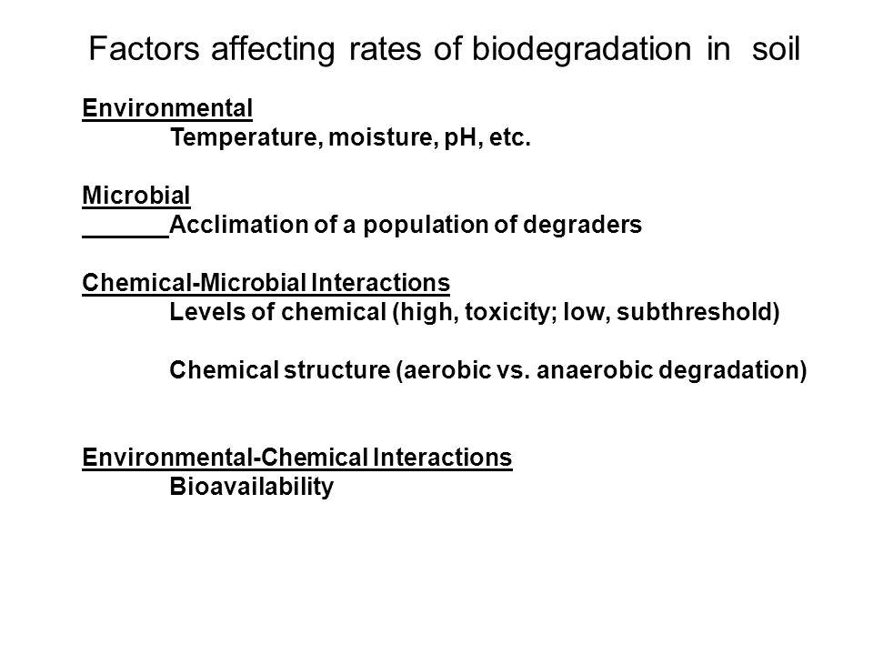 Factors affecting rates of biodegradation in soil Environmental Temperature, moisture, pH, etc.