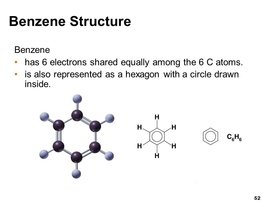 52 Benzene has 6 electrons shared equally among the 6 C atoms. is also represented as a hexagon with a circle drawn inside. Benzene Structure