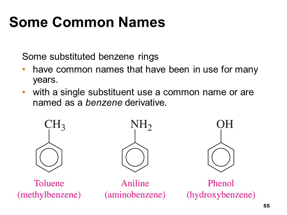55 Some Common Names Some substituted benzene rings have common names that have been in use for many years. with a single substituent use a common nam