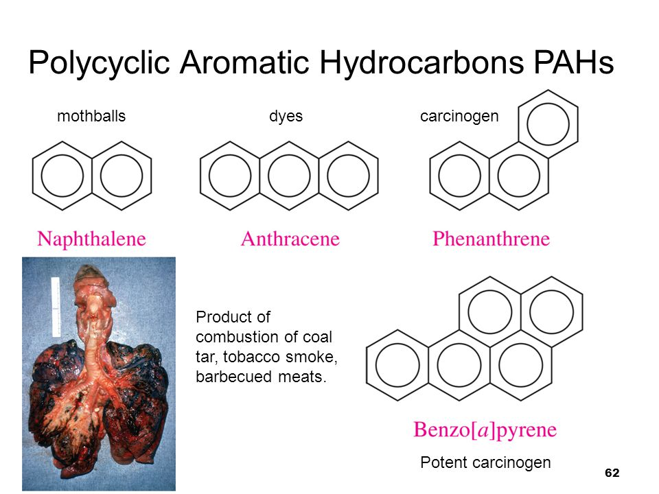 62 Polycyclic Aromatic Hydrocarbons PAHs mothballsdyescarcinogen Product of combustion of coal tar, tobacco smoke, barbecued meats. Potent carcinogen