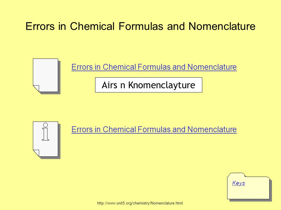 Errors in Chemical Formulas and Nomenclature Keys Errors in Chemical Formulas and Nomenclature http://www.unit5.org/chemistry/Nomenclature.html Airs n Knomenclayture