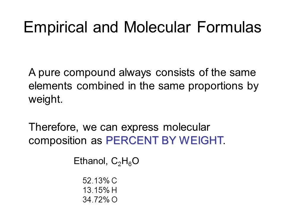 Empirical and Molecular Formulas A pure compound always consists of the same elements combined in the same proportions by weight.