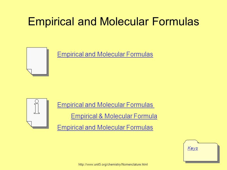 Empirical and Molecular Formulas Keys Empirical and Molecular Formulas Empirical & Molecular Formula Empirical and Molecular Formulas http://www.unit5.org/chemistry/Nomenclature.html