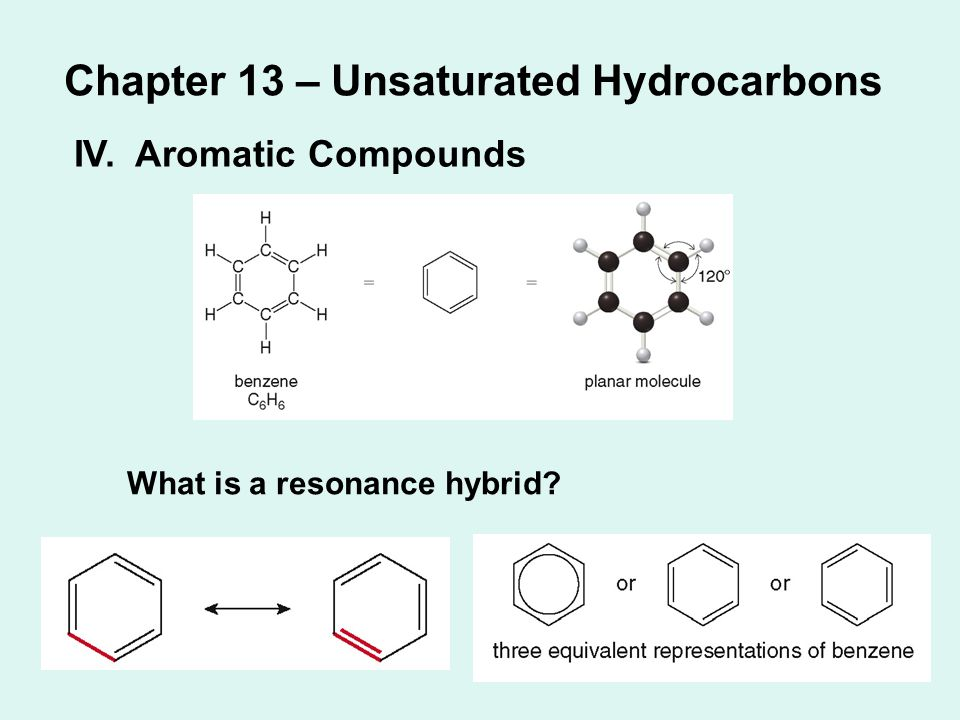 Chapter 13 – Unsaturated Hydrocarbons IV. Aromatic Compounds What is a resonance hybrid