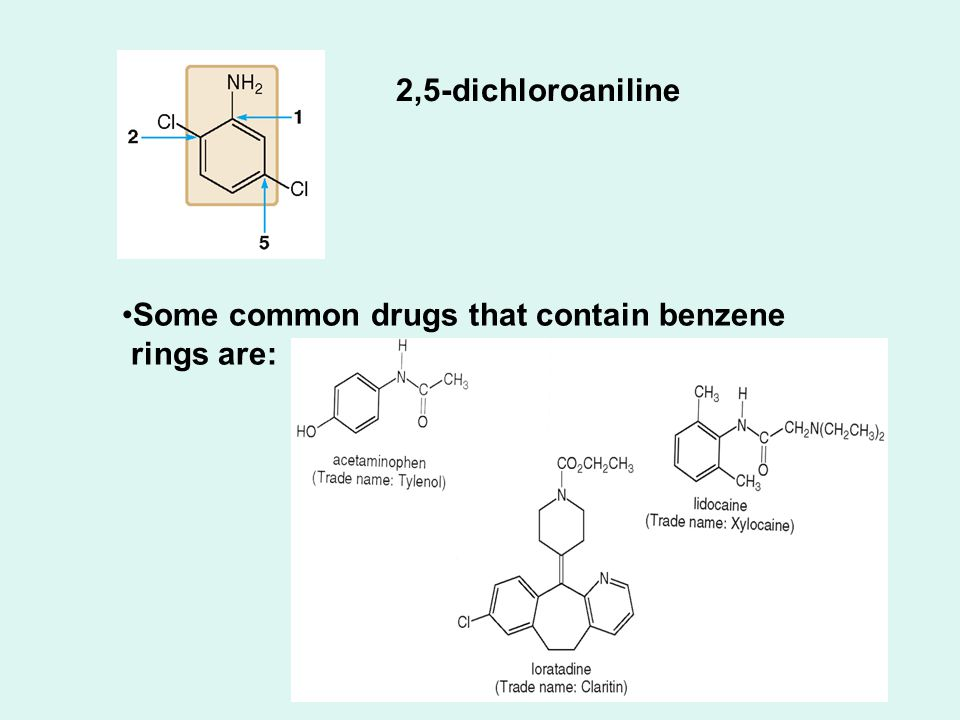 2,5-dichloroaniline Some common drugs that contain benzene rings are: