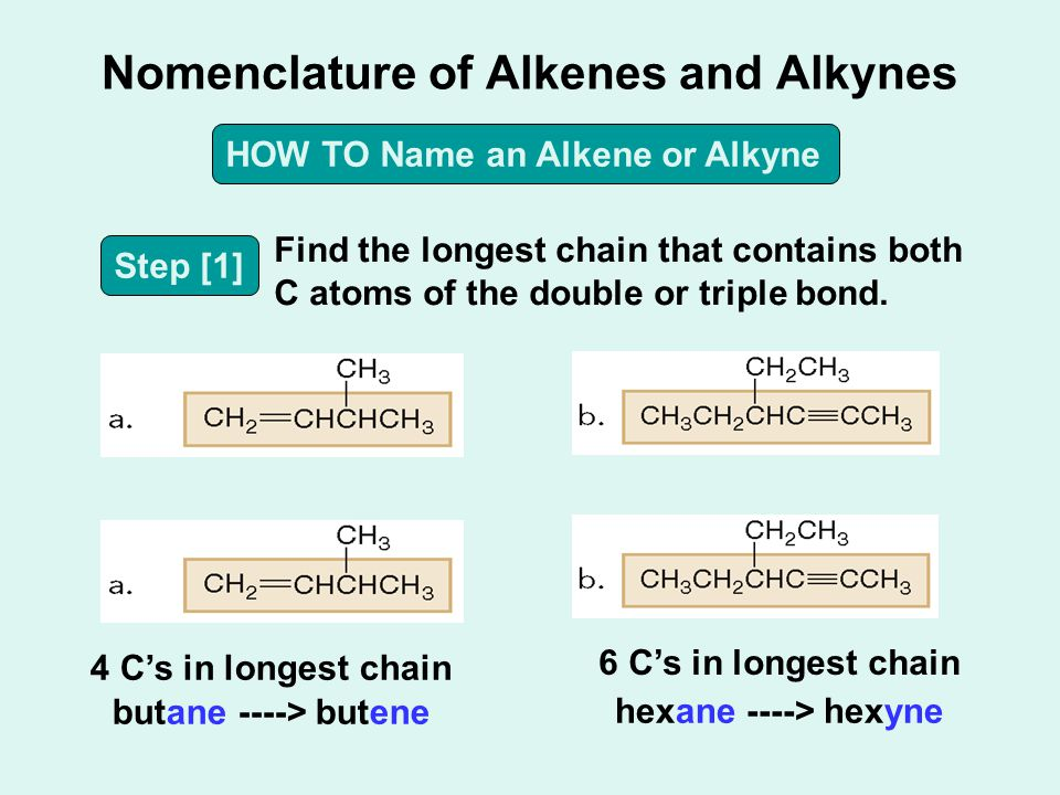 Nomenclature of Alkenes and Alkynes HOW TO Name an Alkene or Alkyne Step [1] Find the longest chain that contains both C atoms of the double or triple bond.