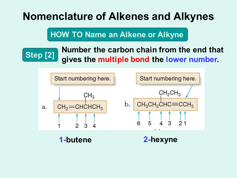 Nomenclature of Alkenes and Alkynes HOW TO Name an Alkene or Alkyne Step [2] Number the carbon chain from the end that gives the multiple bond the low