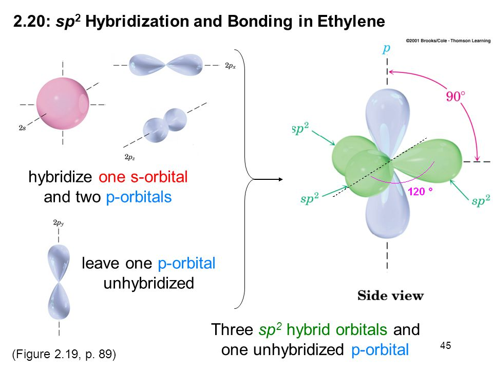 45 2.20: sp 2 Hybridization and Bonding in Ethylene leave one p-orbital unhybridized hybridize one s-orbital and two p-orbitals Three sp 2 hybrid orbitals and one unhybridized p-orbital (Figure 2.19, p.