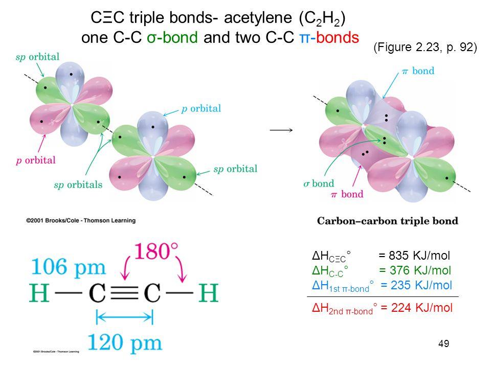49 CΞC triple bonds- acetylene (C 2 H 2 ) one C-C σ-bond and two C-C π-bonds ΔH CΞC ° = 835 KJ/mol ΔH C-C ° = 376 KJ/mol ΔH 1st π-bond ° = 235 KJ/mol