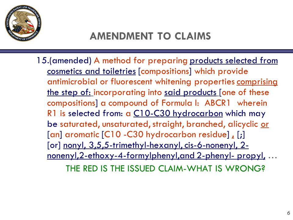 47 AMENDMENT IN A REISSUE OF A REISSUE Claim 1 is a amendment in the reissue of a reissue where the patent claim issued had been amended in the first reissue solely by adding HMG-CoA reductase inhibiting to the claim (italics from published first reissue) and the double bracketing and double underlining from the current amendment