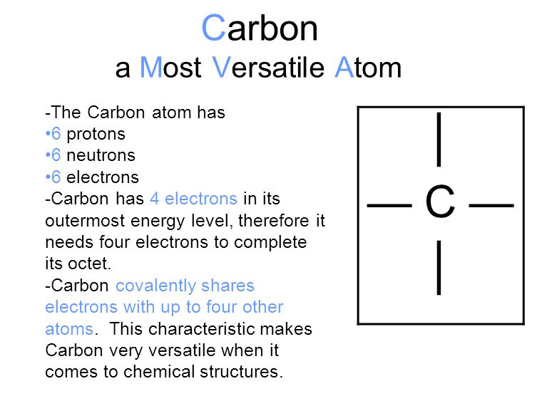 Carbon a Most Versatile Atom │ — C — │ -The Carbon atom has 6 protons 6 neutrons 6 electrons -Carbon has 4 electrons in its outermost energy level, th