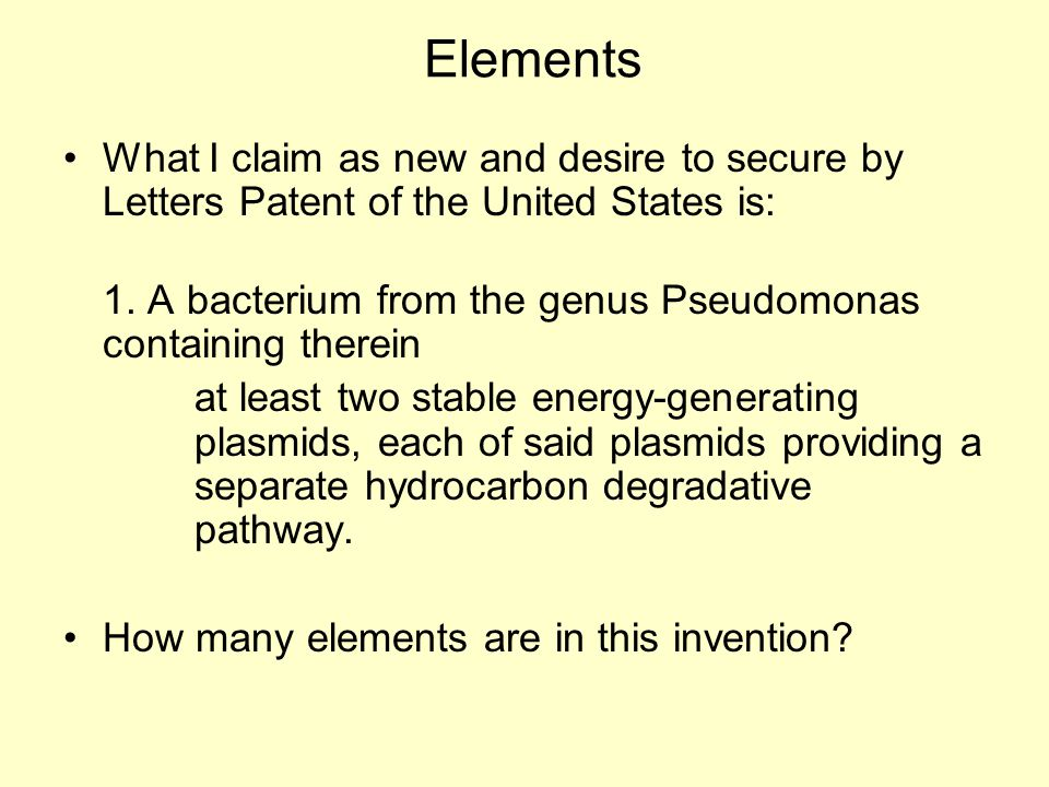 Elements What I claim as new and desire to secure by Letters Patent of the United States is: 1.