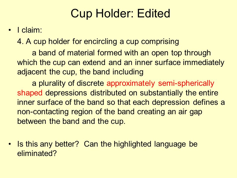 Cup Holder: Edited I claim: 4.