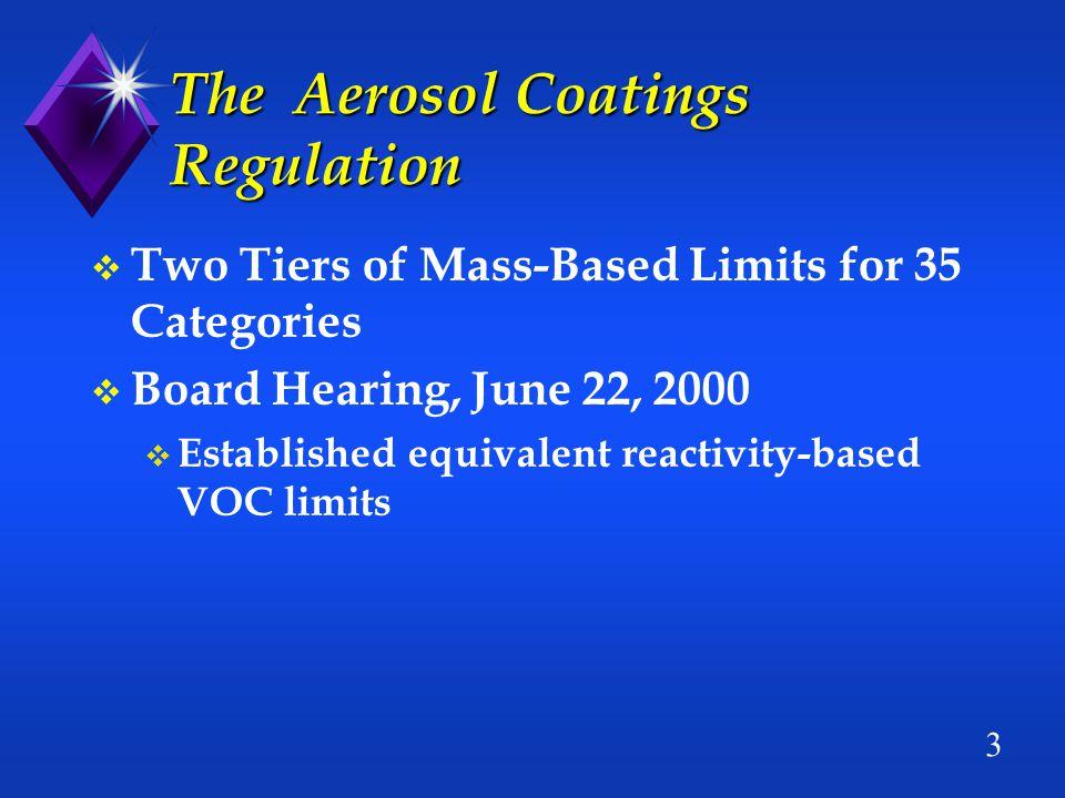 3 The Aerosol Coatings Regulation v Two Tiers of Mass-Based Limits for 35 Categories v Board Hearing, June 22, 2000 v Established equivalent reactivity-based VOC limits