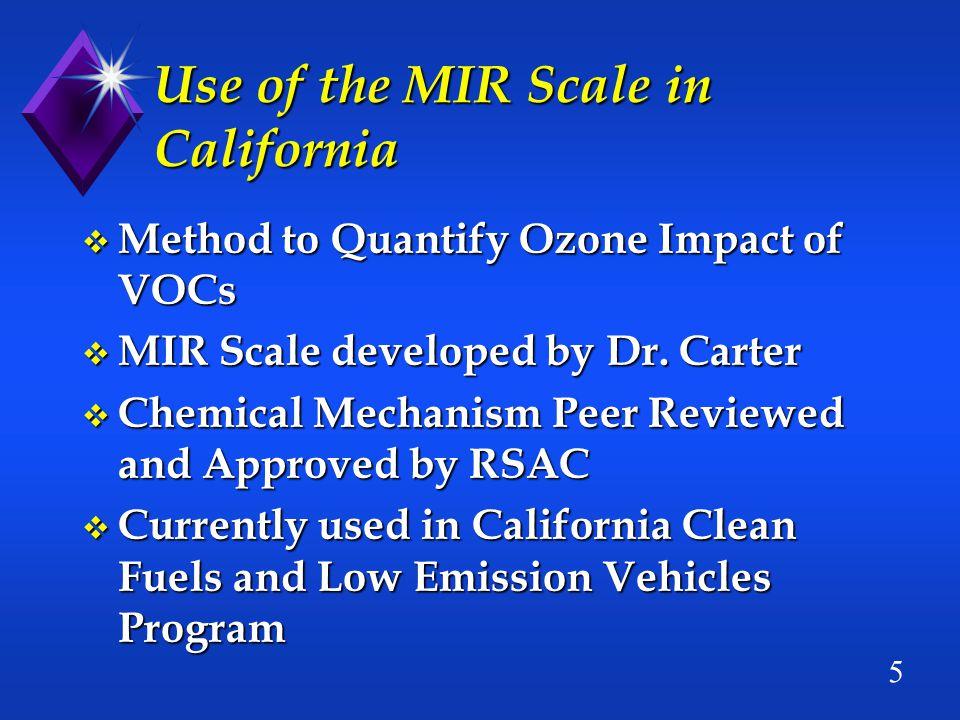 6 Target Ozone Reduction Calculation Target Ozone Reduction calculated using speciated VOC data : = Sales-Weighted Average MIR (SWA-MIR) of VOCs (SWA-MIR) of VOCs x VOC Reduction Commitment