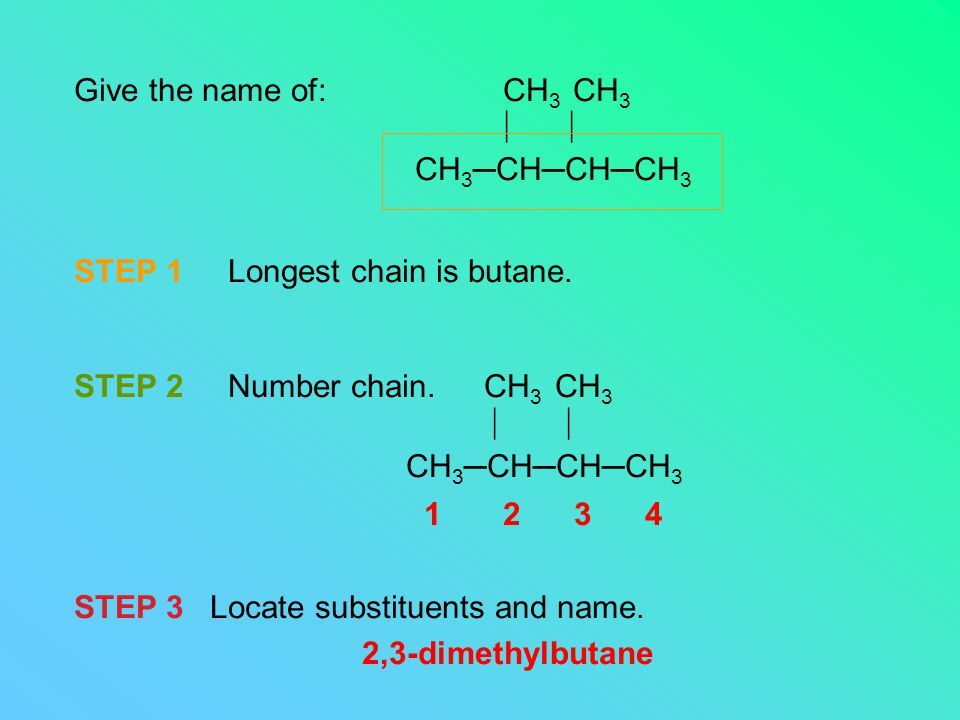 Give the name of: CH 3 CH 3  CH 3 ─CH─CH─CH 3 STEP 1 Longest chain is butane.