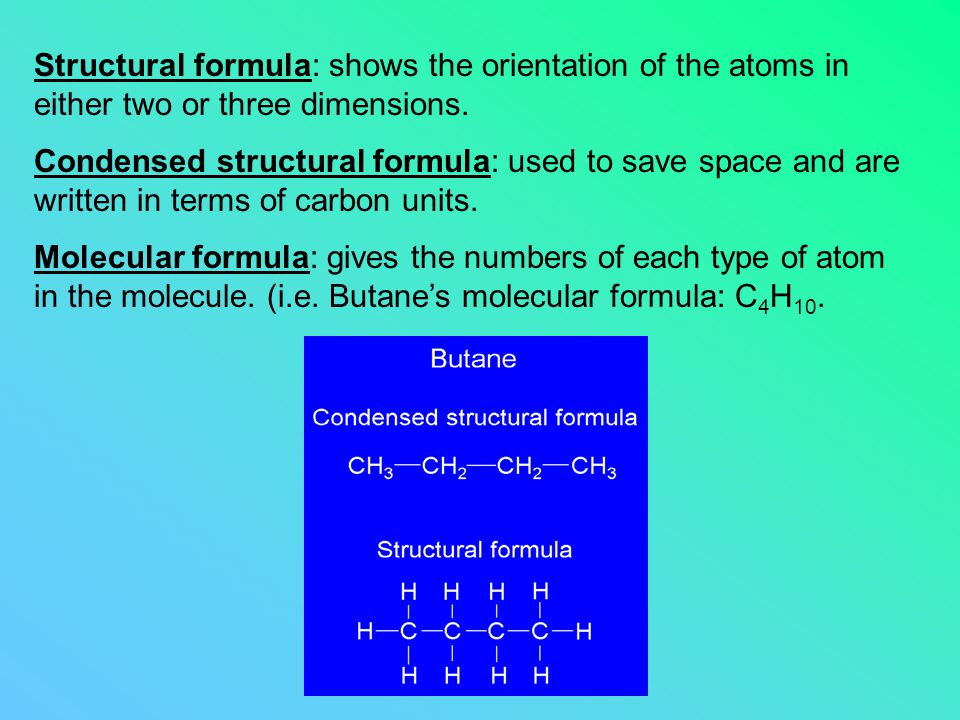 Structural formula: shows the orientation of the atoms in either two or three dimensions.