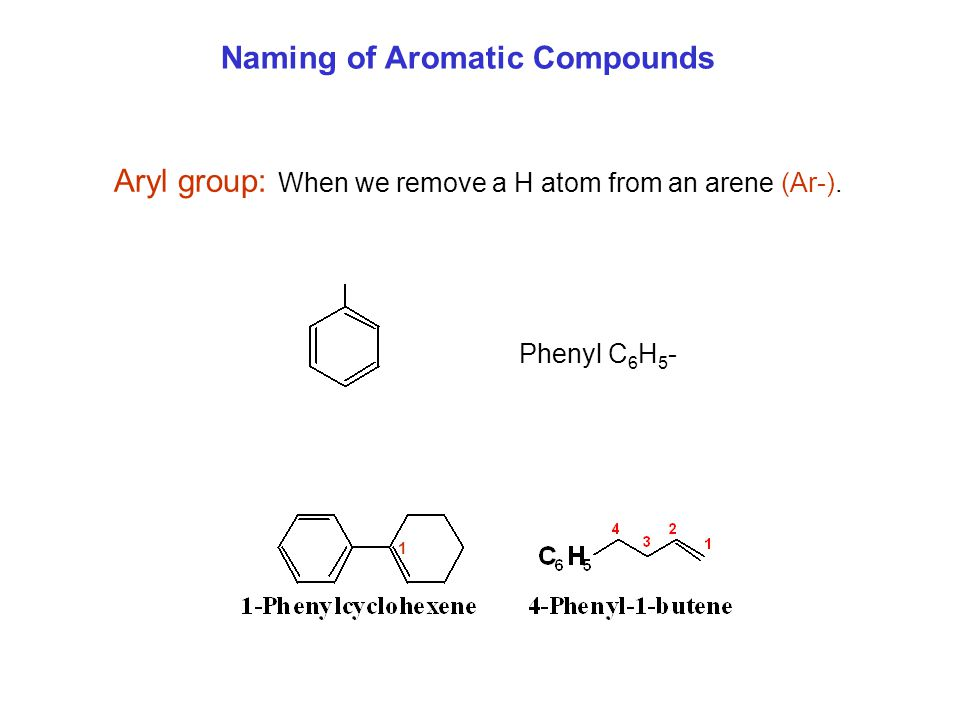 Naming of Aromatic Compounds Aryl group: When we remove a H atom from an arene (Ar-). Phenyl C 6 H 5 - 1
