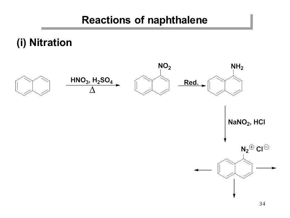 34 (i) Nitration Reactions of naphthalene