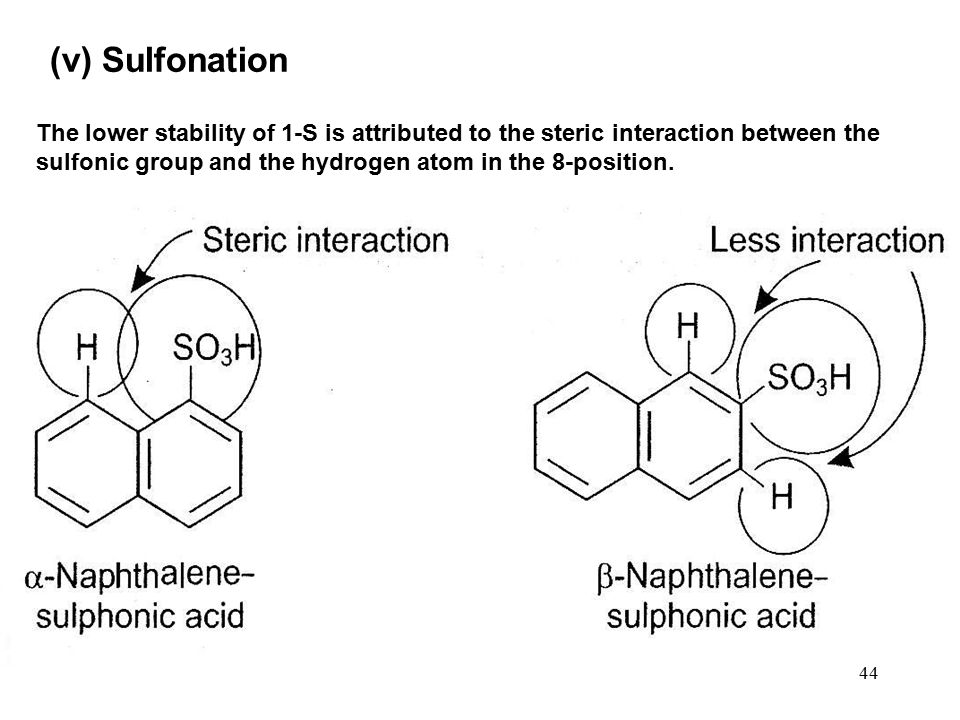 44 The lower stability of 1-S is attributed to the steric interaction between the sulfonic group and the hydrogen atom in the 8-position. (v) Sulfonat