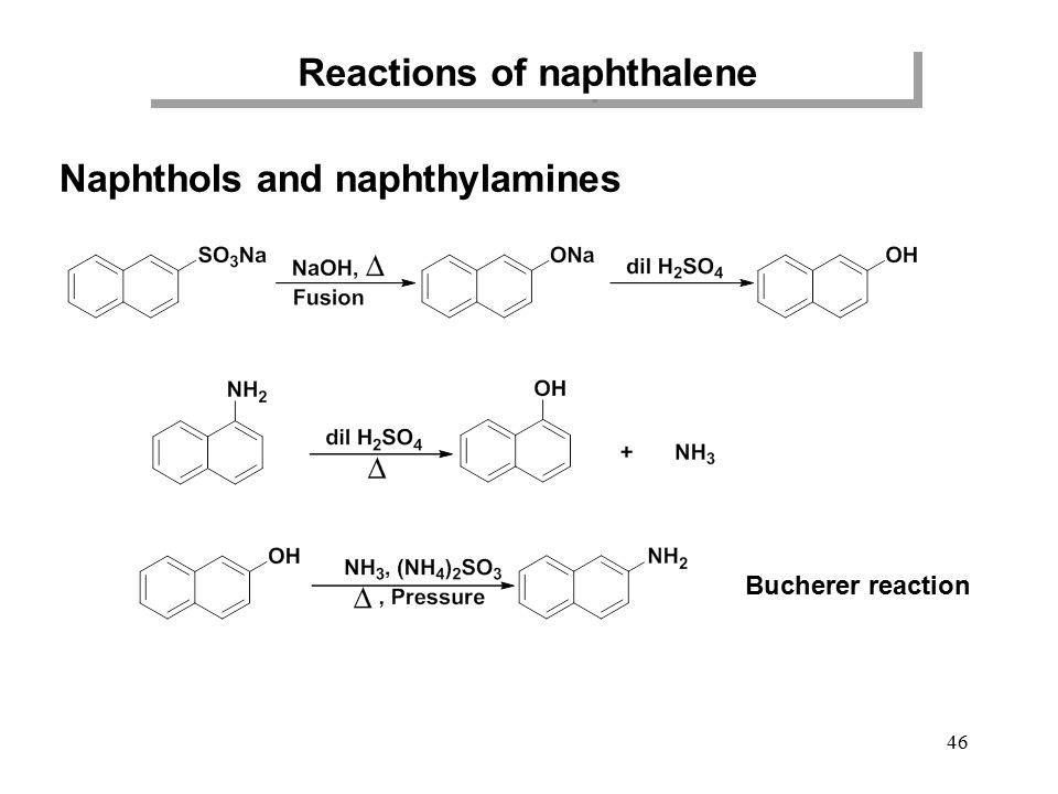 46 Reactions of naphthalene Naphthols and naphthylamines Bucherer reaction