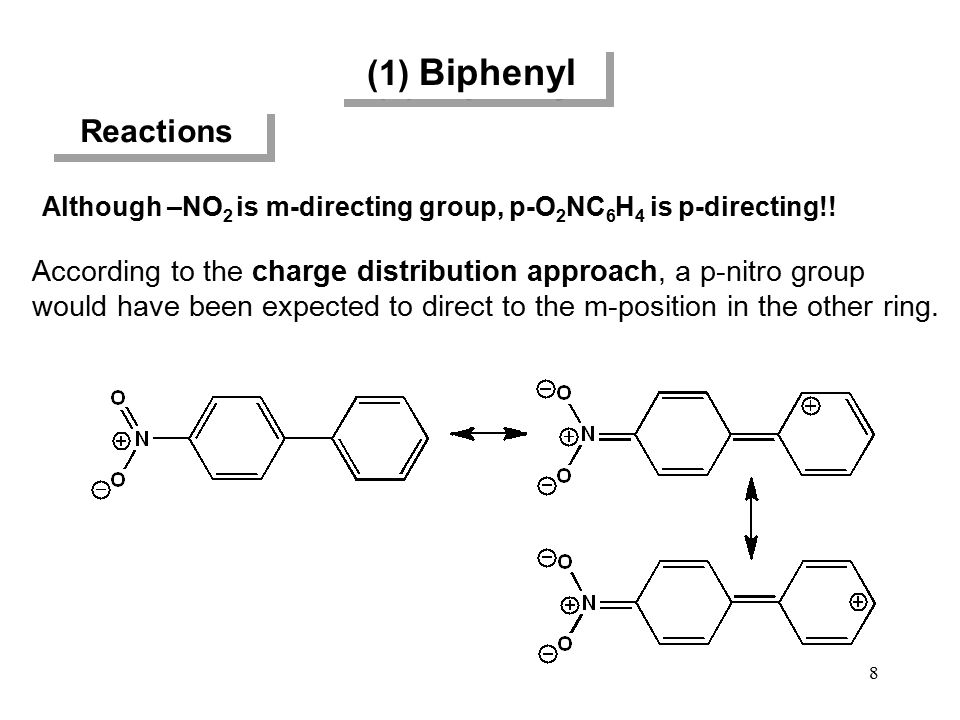 (1) Biphenyl Reactions Although –NO 2 is m-directing group, p-O 2 NC 6 H 4 is p-directing!! According to the charge distribution approach, a p-nitro g