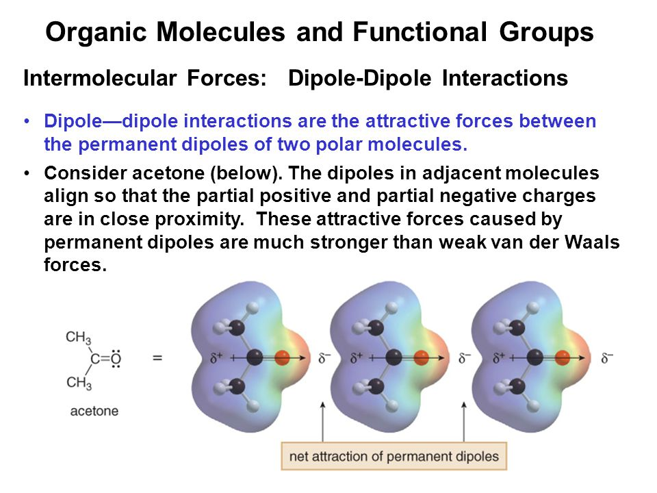18 Intermolecular Forces: Dipole-Dipole Interactions Dipole—dipole interactions are the attractive forces between the permanent dipoles of two polar molecules.