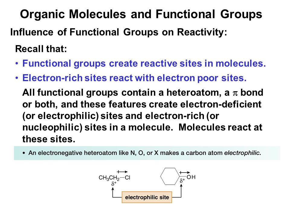 35 Influence of Functional Groups on Reactivity: Recall that: Functional groups create reactive sites in molecules.
