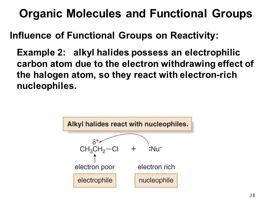38 Example 2: alkyl halides possess an electrophilic carbon atom due to the electron withdrawing effect of the halogen atom, so they react with electron-rich nucleophiles.