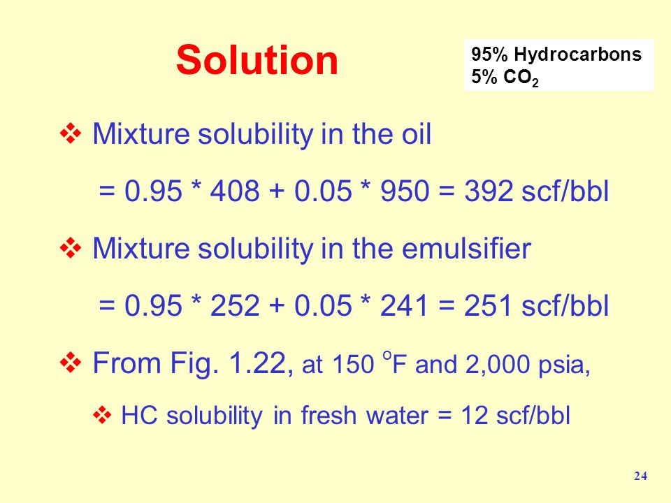 24 Solution  Mixture solubility in the oil = 0.95 * 408 + 0.05 * 950 = 392 scf/bbl  Mixture solubility in the emulsifier = 0.95 * 252 + 0.05 * 241 = 251 scf/bbl  From Fig.