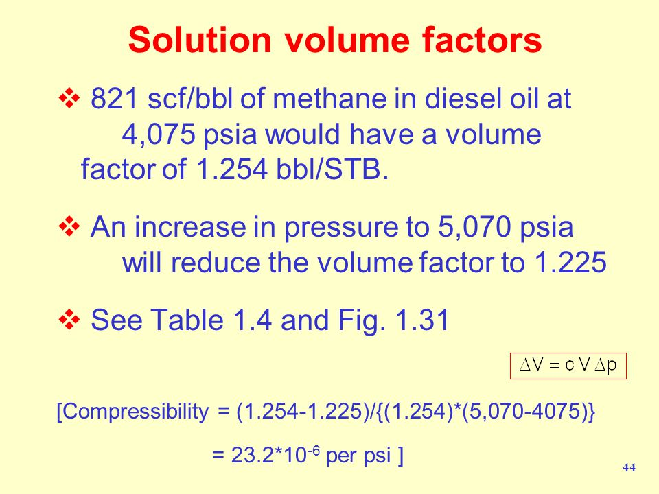 44 Solution volume factors  821 scf/bbl of methane in diesel oil at 4,075 psia would have a volume factor of 1.254 bbl/STB.