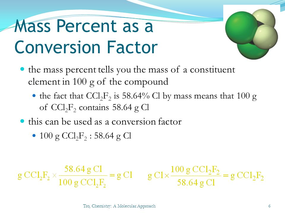 Mass Percent as a Conversion Factor the mass percent tells you the mass of a constituent element in 100 g of the compound the fact that CCl 2 F 2 is 5