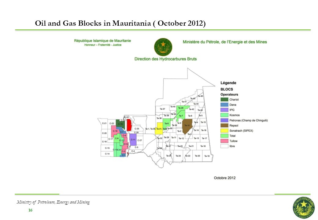 16 Oil and Gas Blocks in Mauritania ( October 2012) Ministry of Petroleum, Energy and Mining