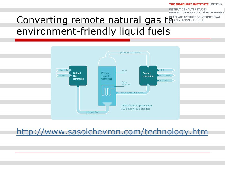 Converting remote natural gas to environment-friendly liquid fuels http://www.sasolchevron.com/technology.htm