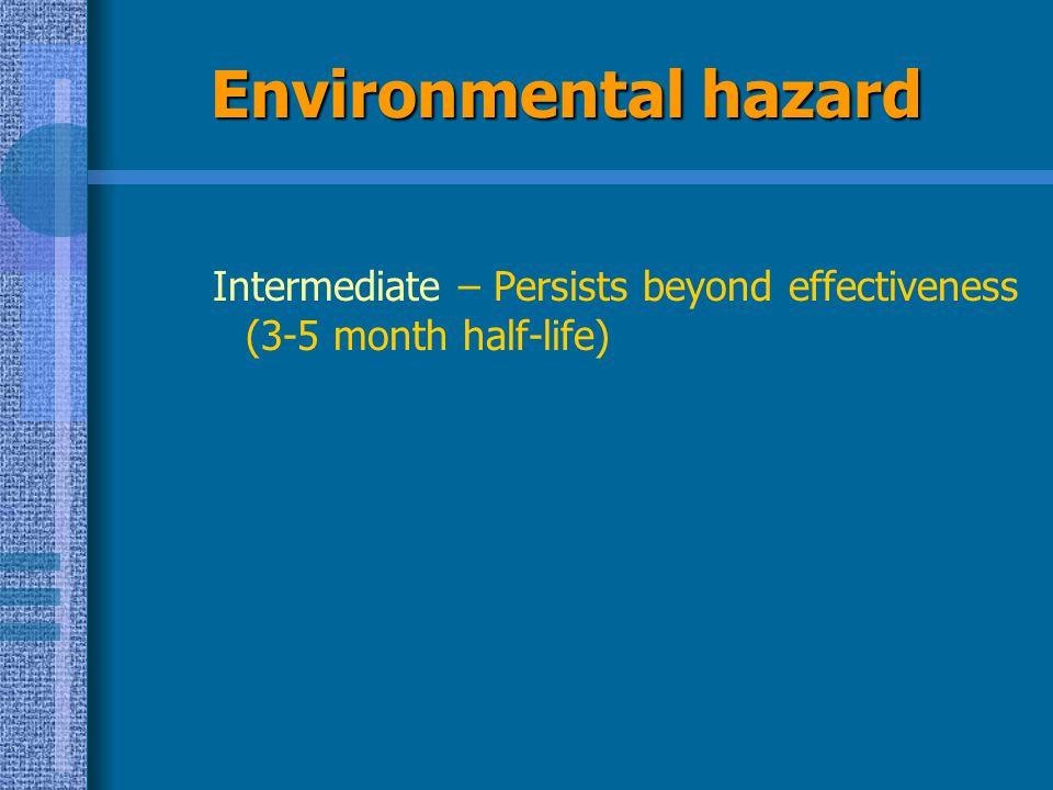 Environmental hazard Intermediate – Persists beyond effectiveness (3-5 month half-life)