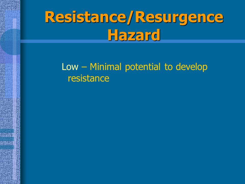 Resistance/Resurgence Hazard Low – Minimal potential to develop resistance