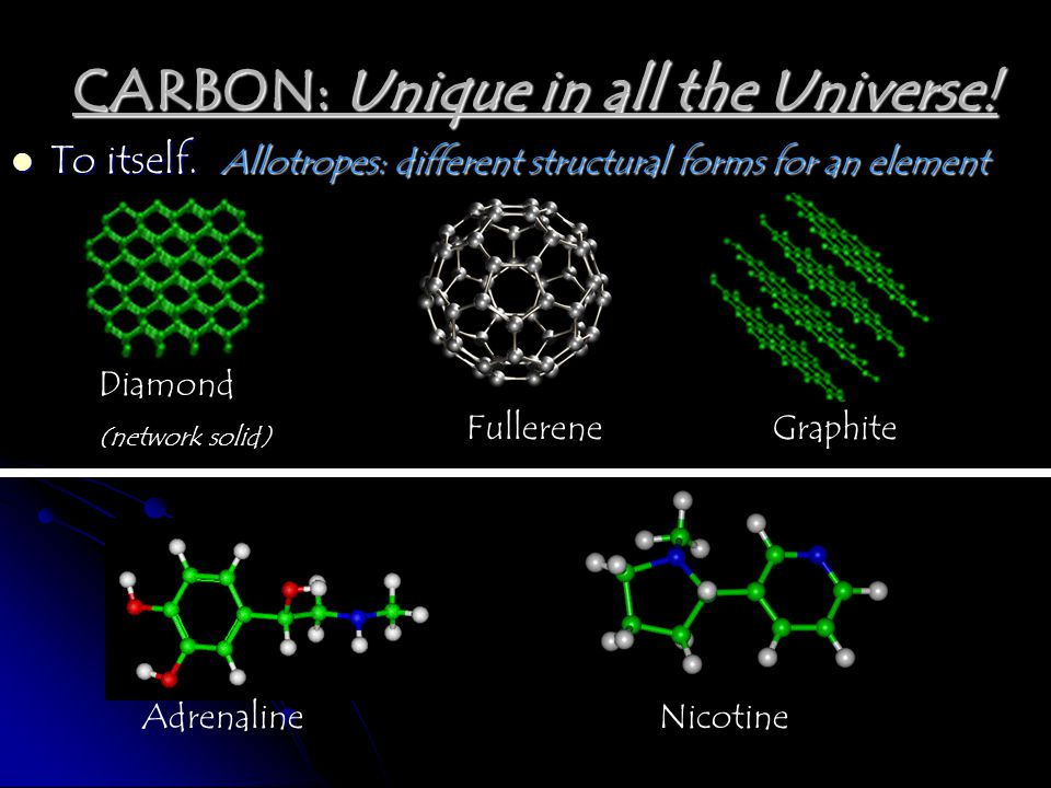 To itself.Allotropes: different structural forms for an element CARBON: Unique in all the Universe! FullereneGraphite AdrenalineNicotine Diamond (netw