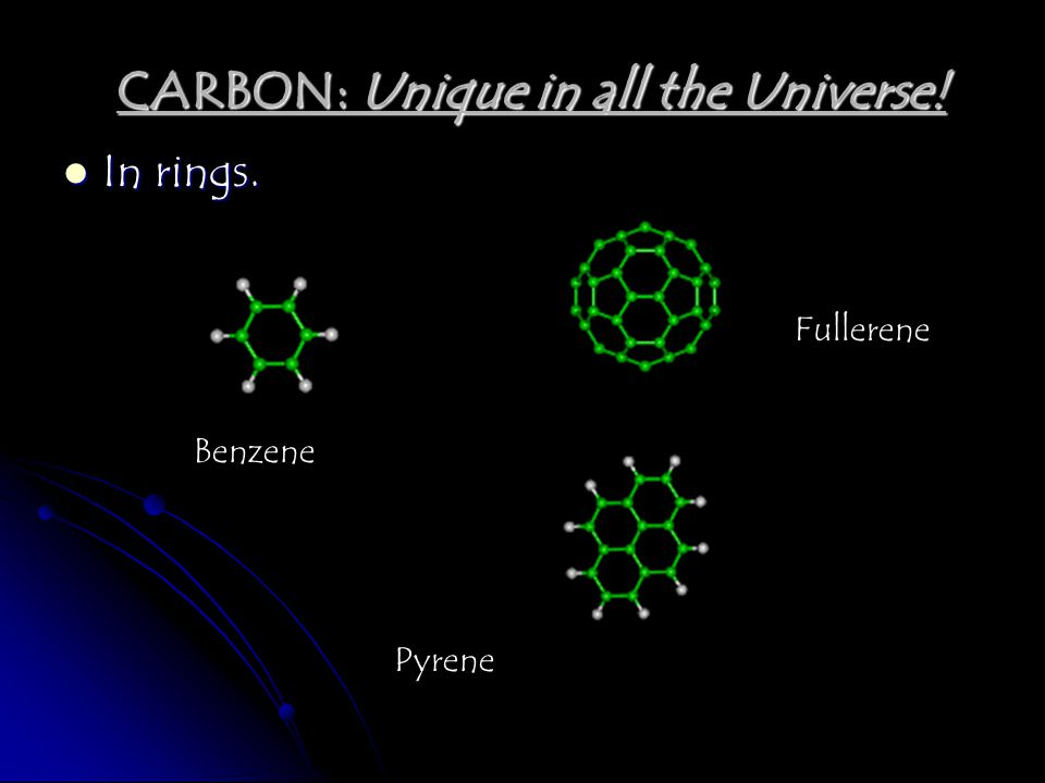 In rings. Benzene Fullerene Pyrene